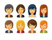 Ženské avatary nosit oblek s vlasy styly — Stock vektor