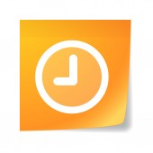 Orange sticky note with a clock — Stockvector