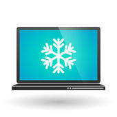 Laptop with a snow flake — Stock Vector