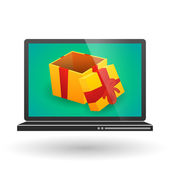 Laptop with a present — Vettoriale Stock
