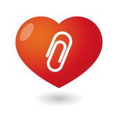 Heart with a clip — Stock Vector
