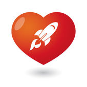 Heart with a rocket — Stock Vector