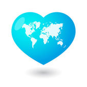 Heart with a world map — Wektor stockowy