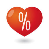 Heart with a percentage sign — Stock Vector