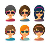 Female avatars with sunglasses — Stock Vector