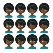 Женские персонажи из аватара выражение set — Cтоковый вектор