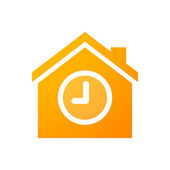 House icon with a clock — Stock Vector