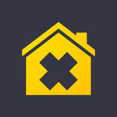 House icon with an irritating substance sign — Stockvector