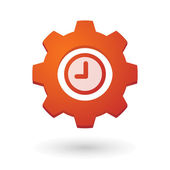 Gear icon with a clock — Stock Vector