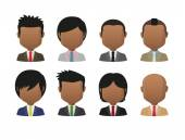 Young indian men wearing suit faceless avatar set — Stock Vector