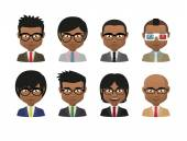 Young indian men wearing suit and glasses avatar set — Stok Vektör