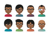 Young indian men wearing glasses avatar set — Stock Vector