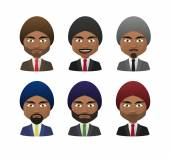 Young indian men wearing suit and turban avatar set — Stock Vector