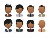 Young indian men wearing suit faceless avatar set — Stock Vector