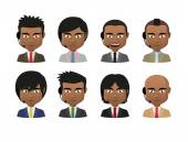 Young indian men wearing suit and a headset avatar set — Stock Vector
