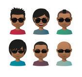 Young indian men wearing sun glasses avatar set — Stock Vector