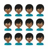 Young indian men avatar expression set — Stock Vector
