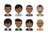 Young indian men wearing suit and glasses avatar set — Stock Vector