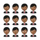 Young indian men wearing suit avatar expression set — Stock Vector