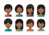 Young indian women faceless avatar set — Stock Vector