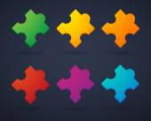 Puzzle piece icon set — Stock Vector