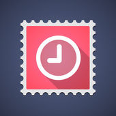 Mail stamp icon with a clock — Vetor de Stock