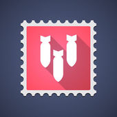 Mail stamp with bombs — 图库矢量图片