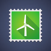 Mail stamp with a wind generator — Stock Vector