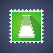 Mail stamp with a chemical test tube — Stock Vector