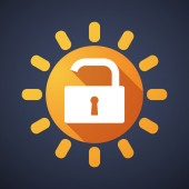 Sun icon with a lock pad — Stock Vector