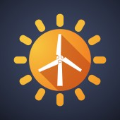 Sun icon with a wind generator — Stock Vector