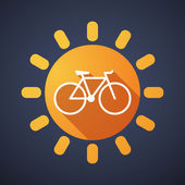 Sun icon with a bicycle — Stock Vector