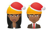 Young indians wearing a santa hat — Stock Vector