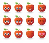 Apple avatar expression set — Stock Vector