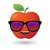 Apple avatar wearing glasses — Stock Vector