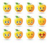Apple avatar expression set — Stock Vector