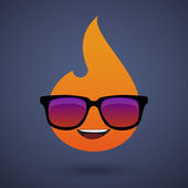 Cute flame avatar wearing glasses — Vector de stock