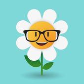 Cute flower avatar wearing glasses — Stock Vector