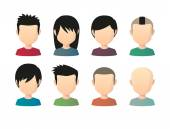 Set of asian male faceless avatars with various hair styles  — Stock Vector