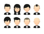 Set of asian male faceless avatars with various hair styles wear — Stock Vector