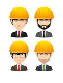 Set of asian male avatars wearing working helmets — Stock Vector