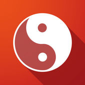 Ying yang  long shadow icon — Stock Vector