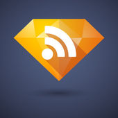 Diamond icon with a RSS sign — Wektor stockowy