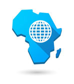 Africa continent map icon with a world globe — Vector de stock