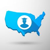 USA map icon with a student — Vector de stock