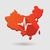 China map icon with a heart beat sign — Stock Vector