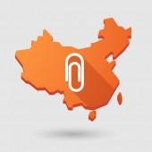 China map icon with a clip — Vector de stock