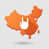 China map icon with a hand — Vector de stock