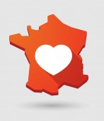 France map icon with a heart — Stock Vector