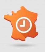 Frankrike karta ikon med en klocka — Stockvektor